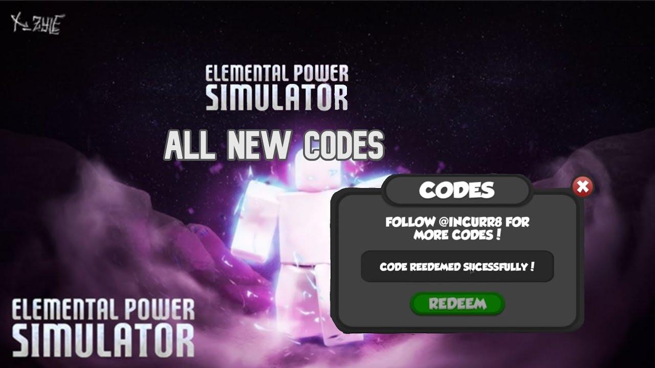 Roblox Elemental Power Simulator All New Codes Youtube
