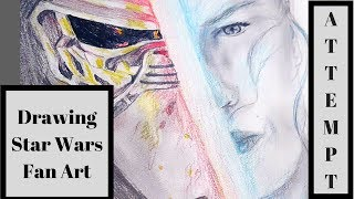 Drawing Kylo Ren and Rey from Star Wars: The Last Jedi