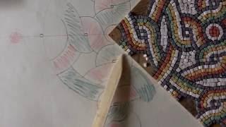 Drawing underneath a geometric mosaic