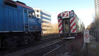 METRA UP North Inbound Express Passes Outbound Local at Evanston