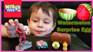 Watermelon Surprise Egg - DeadPool and Disney Cars BLIND BAG Toys - Skin a Watermelon For Kids