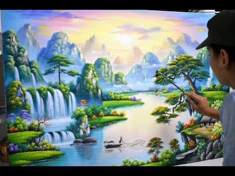 Bài vẽ mẫu tranh sơn thủy K10. Nhận đào tạo vẽ tranh tư�ng. (3d scenery paintings).