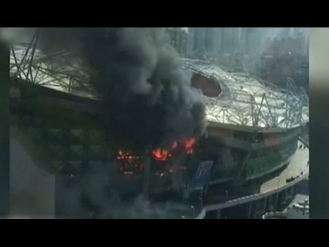 Shanghai stadium damaged by fire