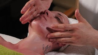 Process of Masseur's Work with Female Client. Male Therapist Massaging Woman's Face. Body Care,