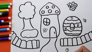 How To Draw and Coloring House for Kids. House Coloring pages for children