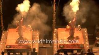 Divine Ganga aarti on the ghats of Varanasi - India
