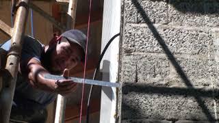 Провеска фасада шнурками, нужно выбрать расстояние от финишной плоскости до утепляемого основания