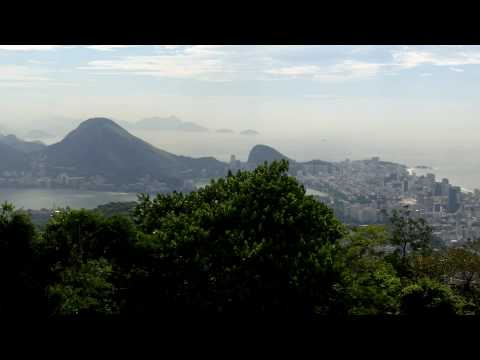 Panoramic view of Rio De Janeiro, Brazil from the Vista Chinese Outlook in Tijuca National Park