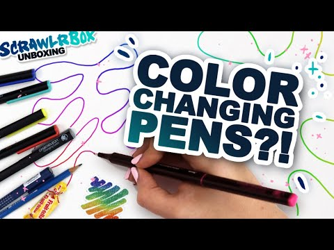 Making Art with COLOR CHANGING PENS?! | Mystery Art Box | Scrawrlbox Unboxing | Rainbow Renaissance