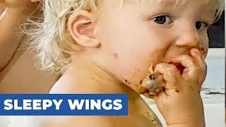 Sleepy Toddler Eats Chicken Wings