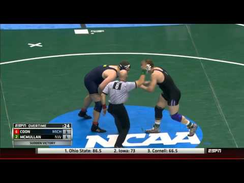 2015 NCAA HWT Semi Final OVERTIME PERIOD: Adam Coon (UMich) v Mike McMullan (Northwestern)