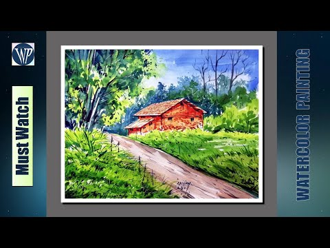 Watercolor Landscape painting for beginners / Easy Village scenery drawing / Step by step