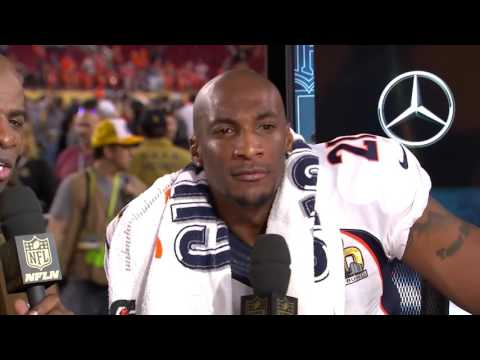 Aqib Talib Falls on Set... Gets Back Up in Excitement! | Super Bowl 50 Post Game | Denver Broncos
