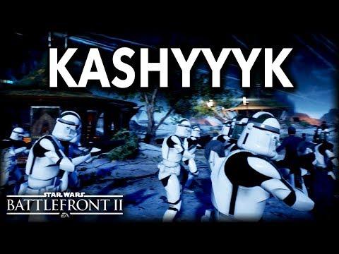 Star Wars Battlefront 2 NIGHT TIME GALACTIC ASSAULT KASHYYYK GAMEPLAY