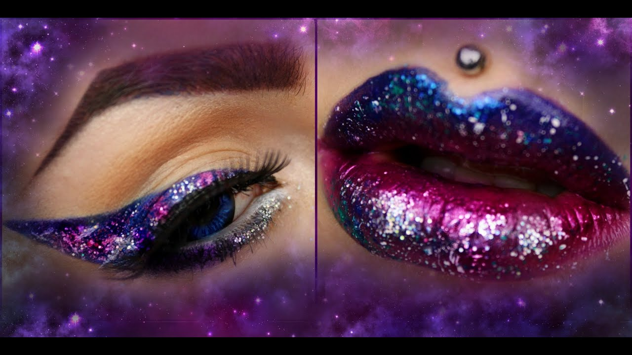 LEARN THE TRICK: EASY GALAXY Eye & Lip Art Tutorial - YouTube