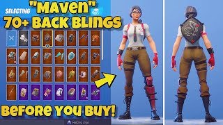 "NEW ""MAVEN"" SKIN Showcased With 70+ BACK BLINGS! Fortnite Battle Royale (BEFORE YOU BUY)"