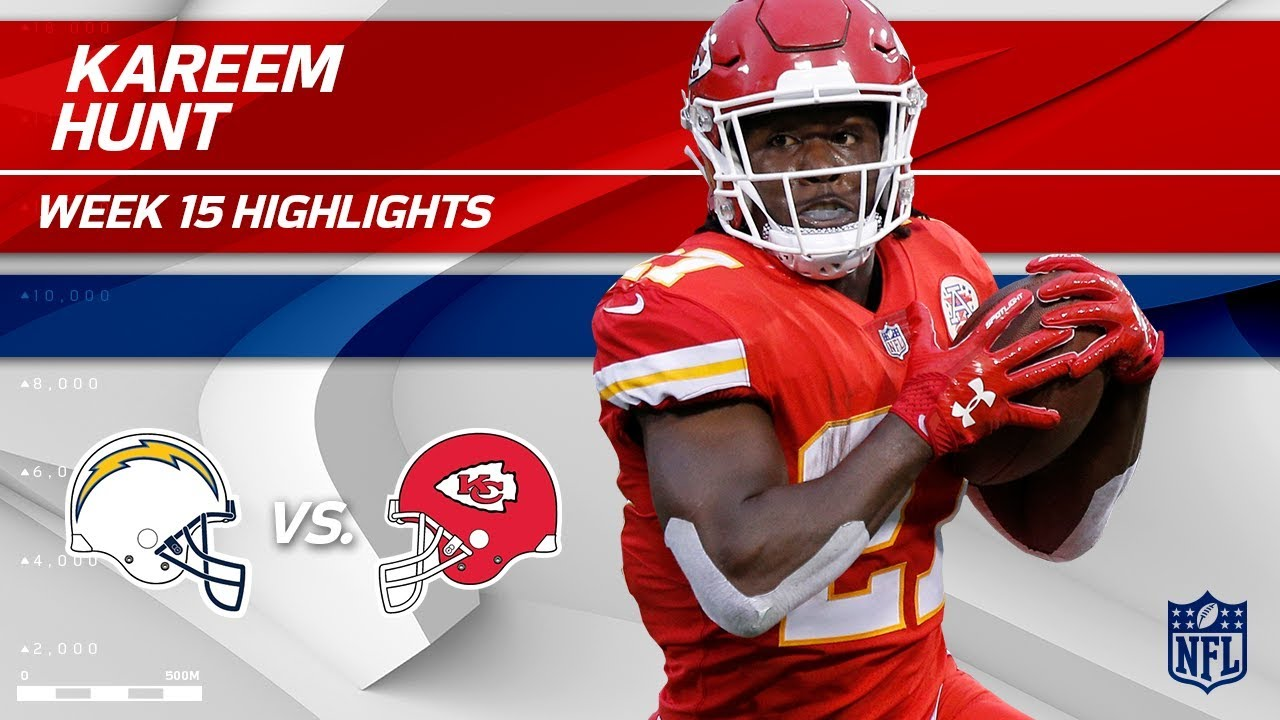 best service 7244c 21ecd Kareem Hunt Takes OVER w/ 206 Total Yards & 2 TDs! | Chargers vs. Chiefs |  Wk 15 Player Highlights