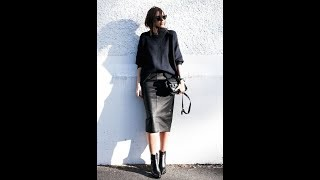 The Super Chic Total Black Color Minimalist Looks for Fall Sunny Day.