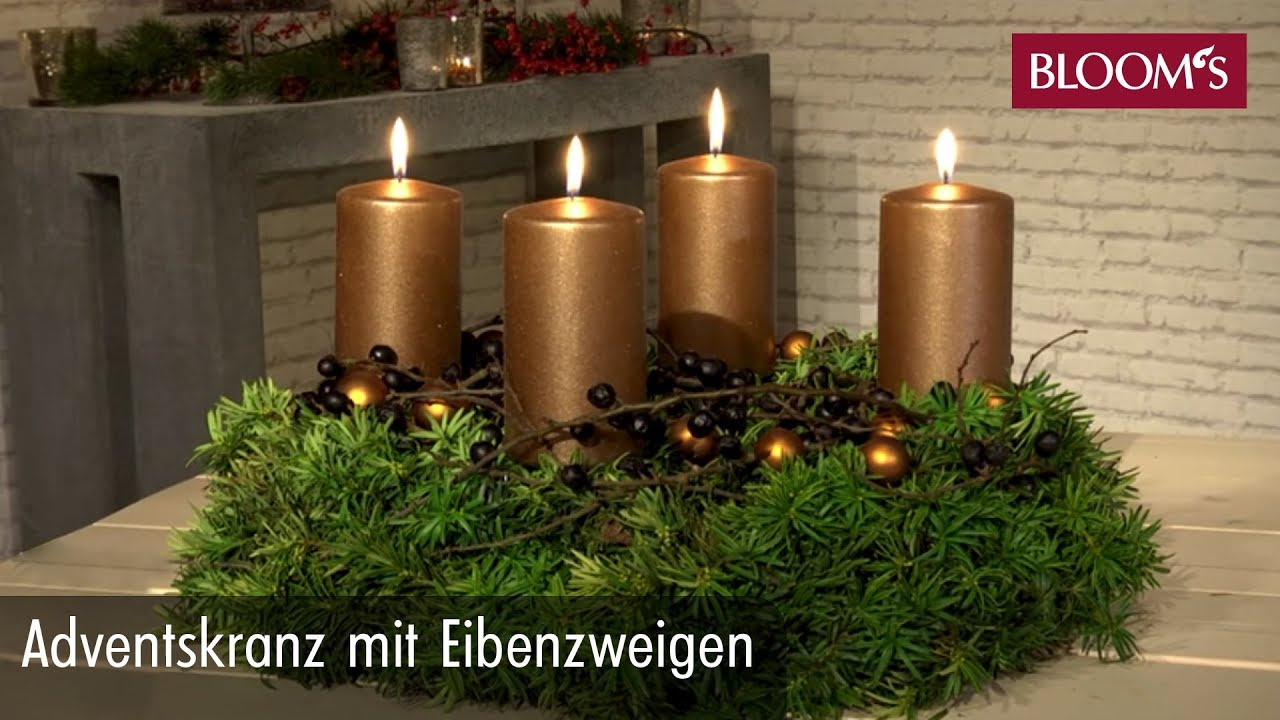adventskranz mit eibenzweigen weihnachtsdeko christmas. Black Bedroom Furniture Sets. Home Design Ideas