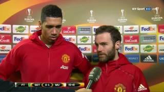 Juan Mata & Chris Smalling Post Match Interview   Manchester United 1 0 Saint Etienne