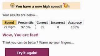 Typing Test 72 Wpm!!!