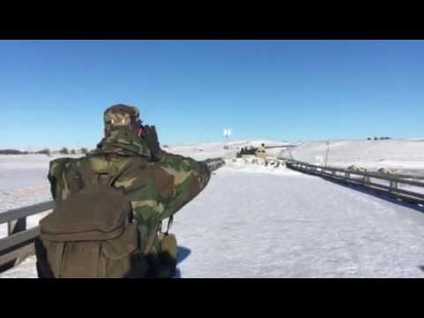 Veterans at Standing rock barricade