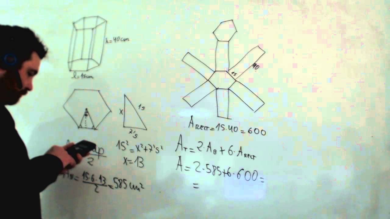 Área de un prisma de base hexagonal Lateral y total ...