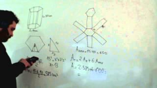 Área de un prisma de base hexagonal Lateral y total Matemáticas 2º ESO Academia Usero Estepona