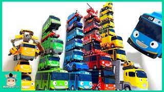Tayo be careful! Tayo Bus in Real Life. Tayo bus rainbow tower falls  learn colors | MariAndToys
