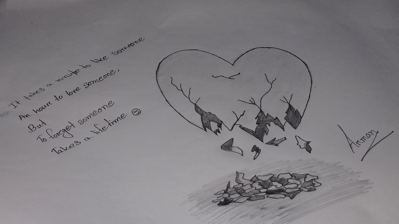 How to draw a broken heart image by pencil - YouTube