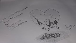 How to draw a broken heart image by pencil