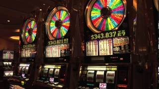 Wheel of Fortune Slots Machines with Jackpot Tickers in South Point Casino and Hotel Las Vegas NV