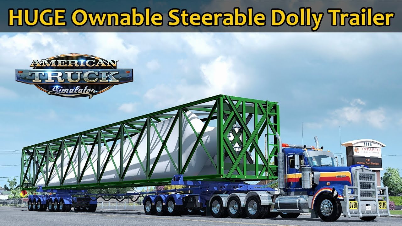 ✅ [ATS 1 32] HUGE Ownable Steerable Dolly 9 Axle Trailer
