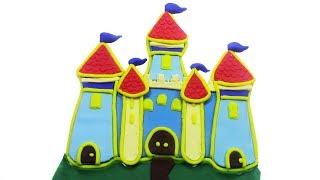 Making Disney Princess Castle with PlayDoh Sparkle - DIY Disney Princes Rainbow Castle PlayDoh