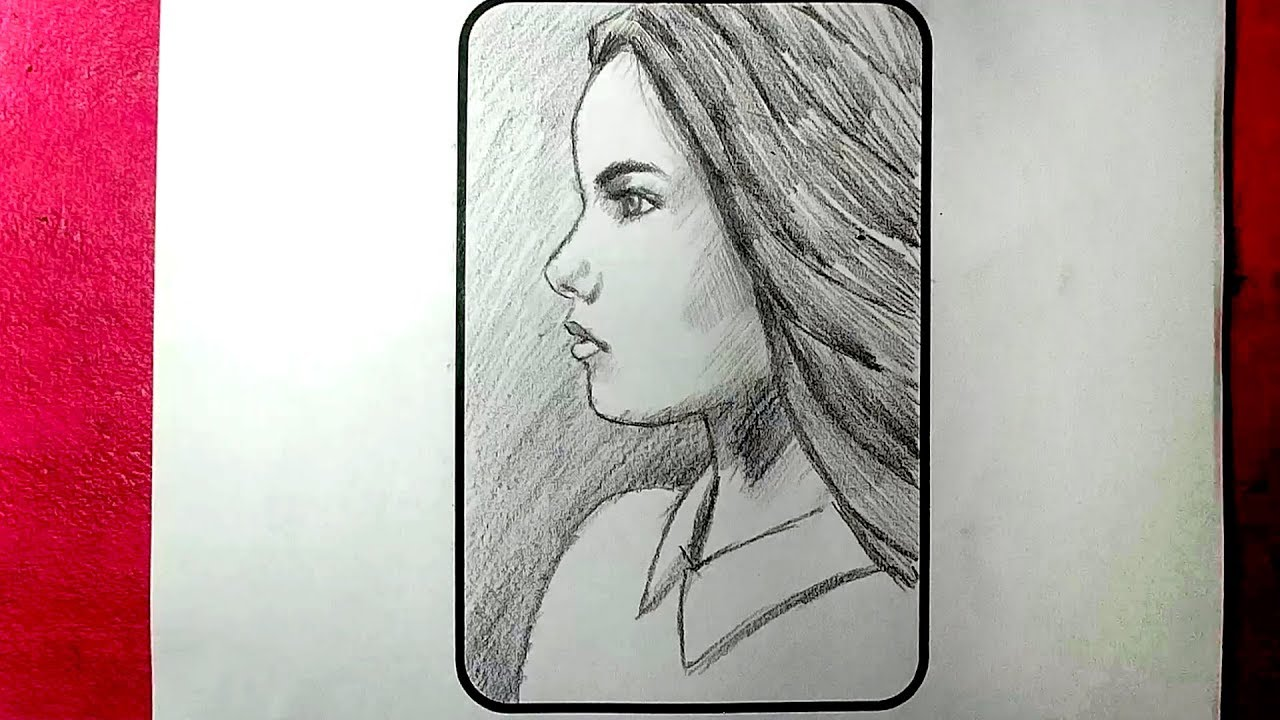 how to draw a girl face in profile view face side view drawing
