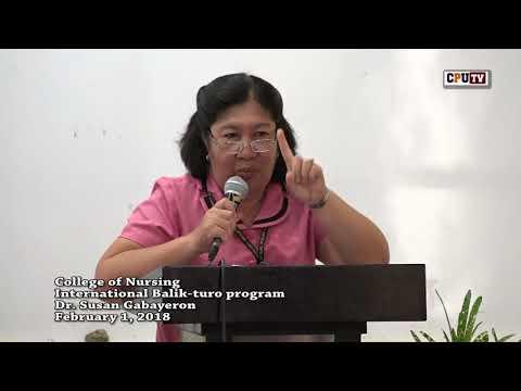 CPU College of Nursing Balik-turo program featuring Dr  Susan Gabayeron