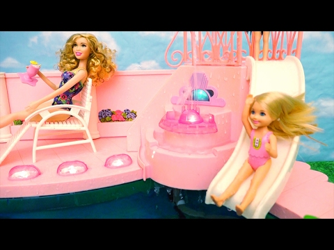 Thumbnail: Barbie Toys Fountain Swimming Pool - Chelsea Feels Bad She Doesn't Know How to Swim & Her Friends Do