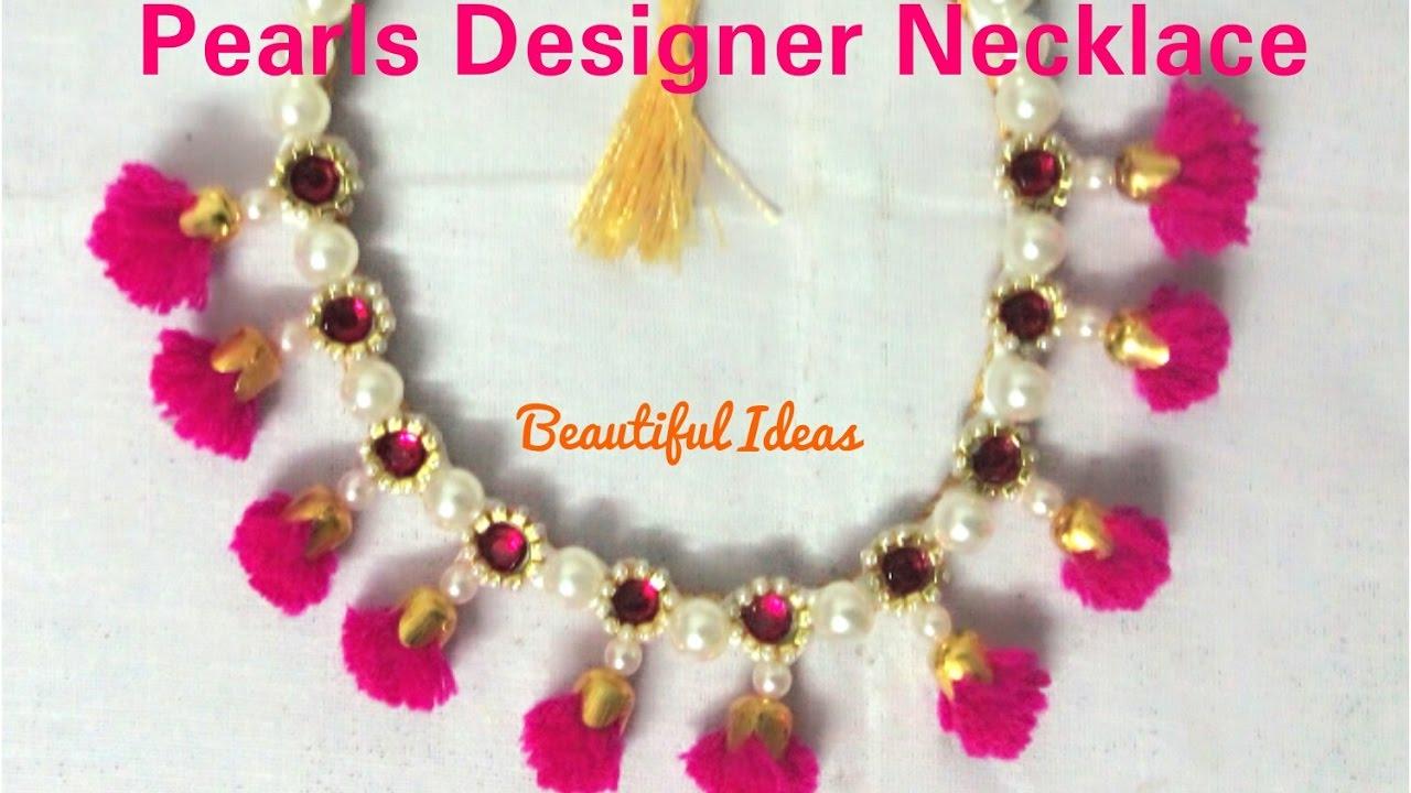 How to make Pearls Designer Necklace / Silk thread Pearls/Woolen ...
