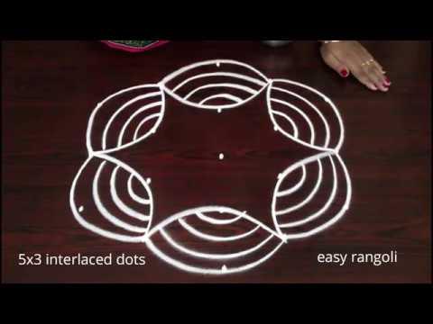 Cute  Beginners Muggulu Rangoli Kolam Designs With 5 Dots By Suneetha || Easy Daily Rangavalli