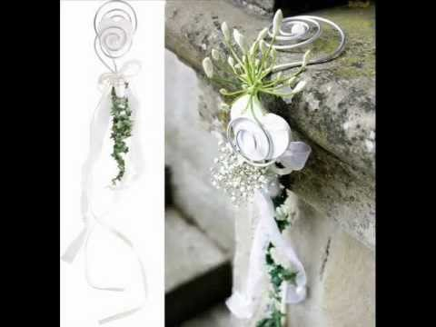 Hochzeitsdeko Kirche selber machen. Kirchenmuck mit Blumen basteln.