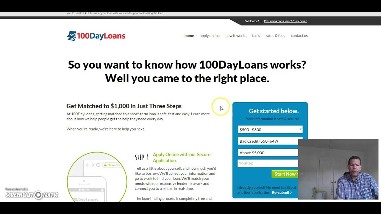100 Day Payday Loan Review No credit check - YouTube