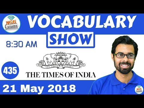 8:30 AM -The Times of India Vocabulary with Tricks (21st May, 2018)   Day #435