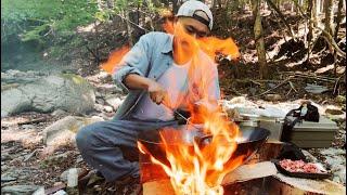 山で静かに青椒肉絲を作る【camp】