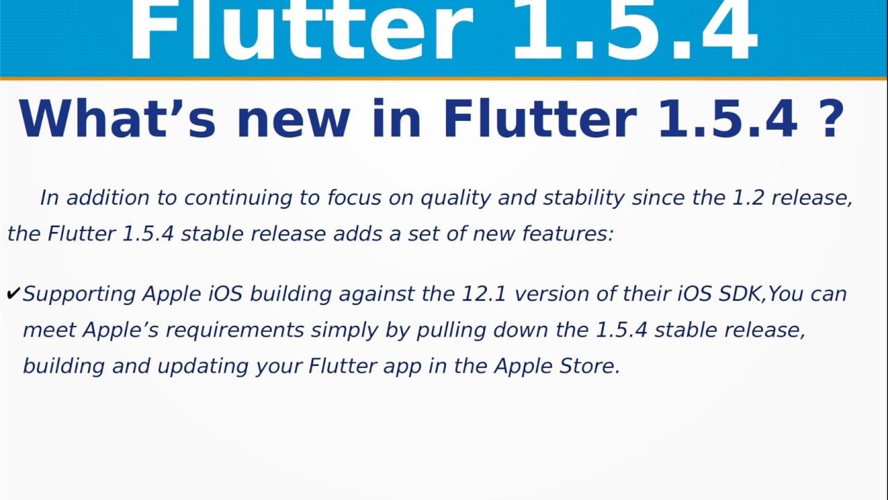 Flutter 1 5 4 Release Updates | Breaking Changes | iOS | Web | Google I/O  2019