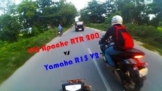 TVS Apache RTR 200 4V vs Yamaha R15 V2 - Dangerous Street Race. Episode 2. 1080p 60 FPS!