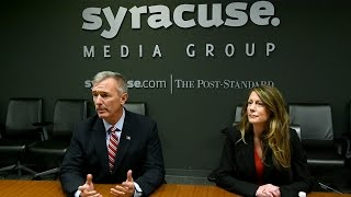 Colleen deacon (d) and rep. john katko (r) discuss katko's voting record during an editorial board meeting at syracuse media group monday, oct. 31, 2016. kat...