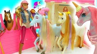 Disney Princess Rapunzel's + Cinderella Horses & Barbie Doll Pink Unicorn Horse