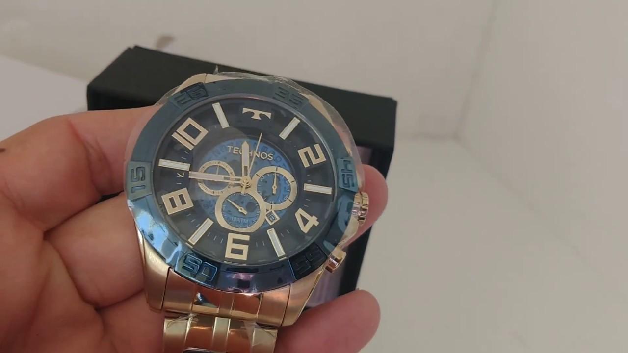 3c31a81cd1 Relógio Masculino Technos OS2ABF 4A Legacy Dourado Azul - YouTube