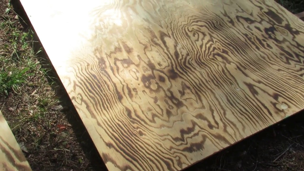 Japanese wood torching technique on sanded plywood