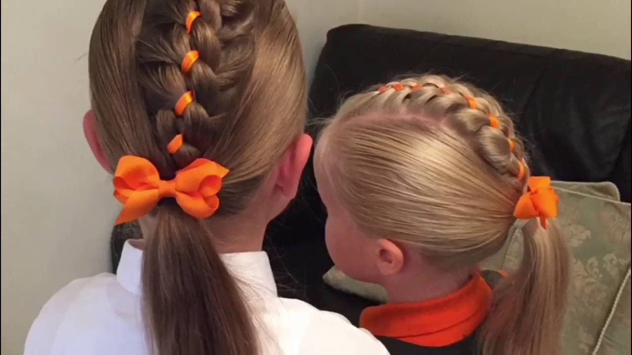 Four Strand Ribbon Braid Mohawk Hair Tutorial By Two Little Girls Hairstyles Youtube Little Girl Hairstyles Hair Braid Videos Braided Headband Hairstyle